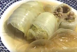 中華風のあっさりスープ♪ほっこりロール白菜